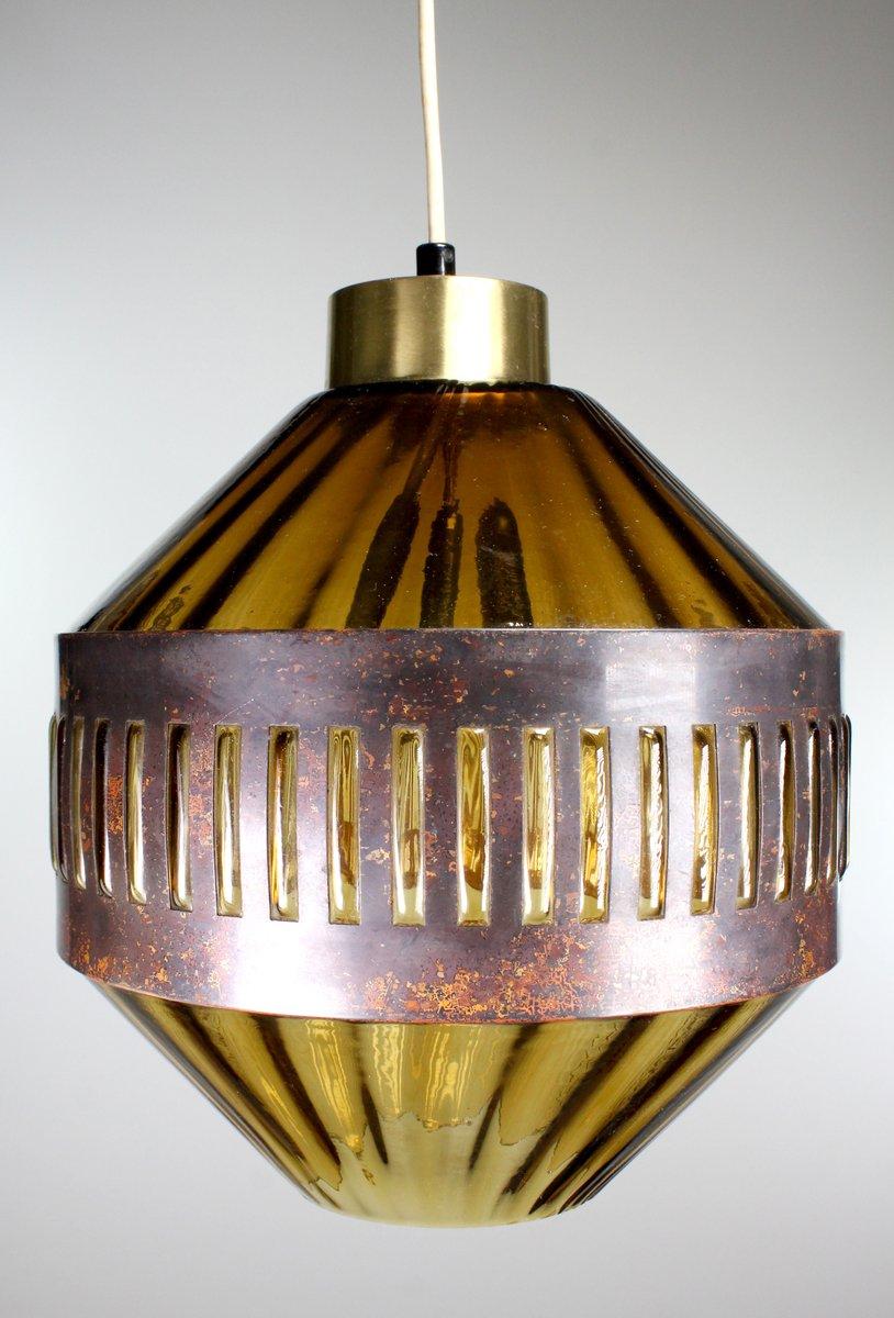 Hängelampe aus Geschwärztem Kupfer & Bernsteingelbem Glas von Nanny St...