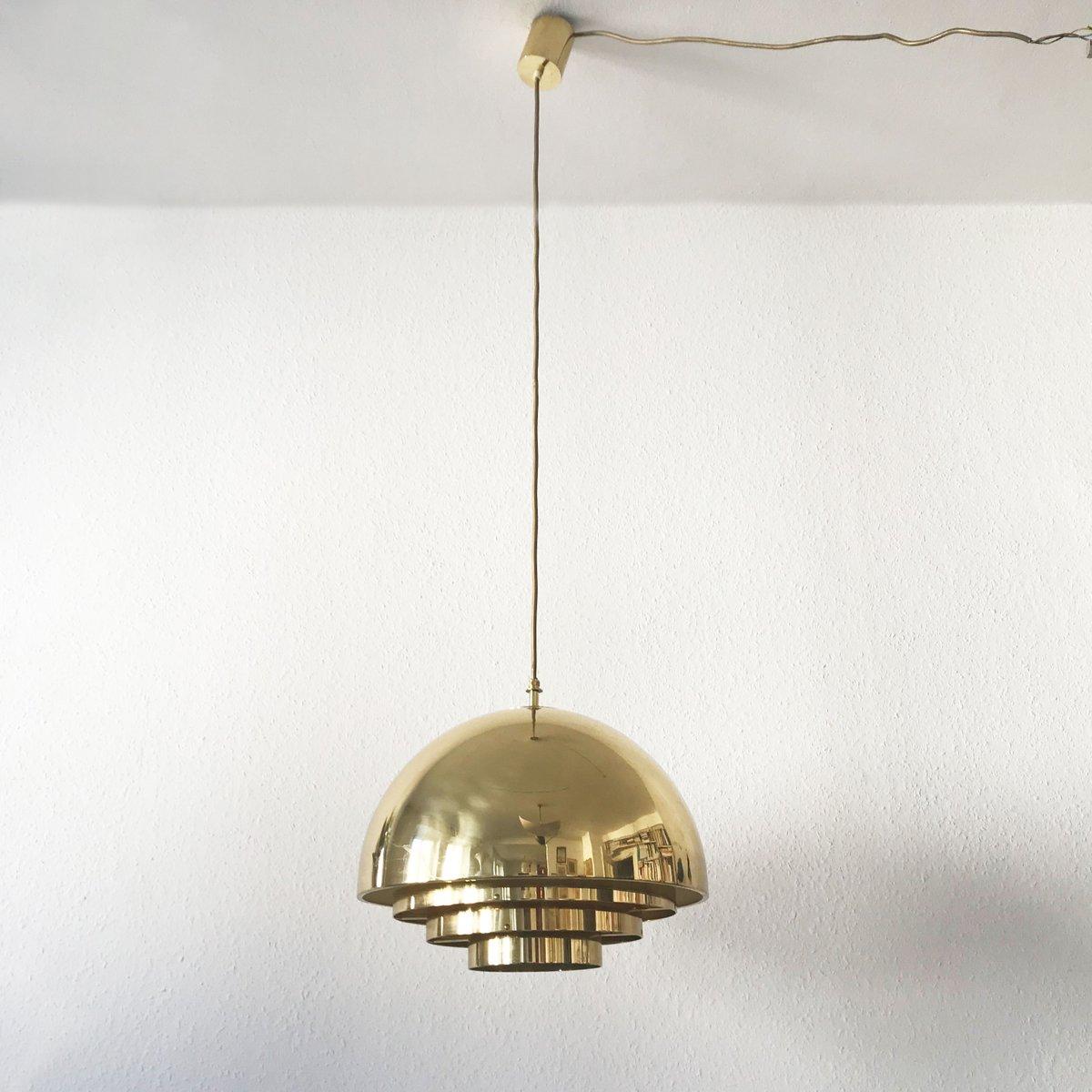 Mid century modern brass dome pendant lamp from vereinigte mid century modern brass dome pendant lamp from vereinigte werksttten aloadofball Choice Image