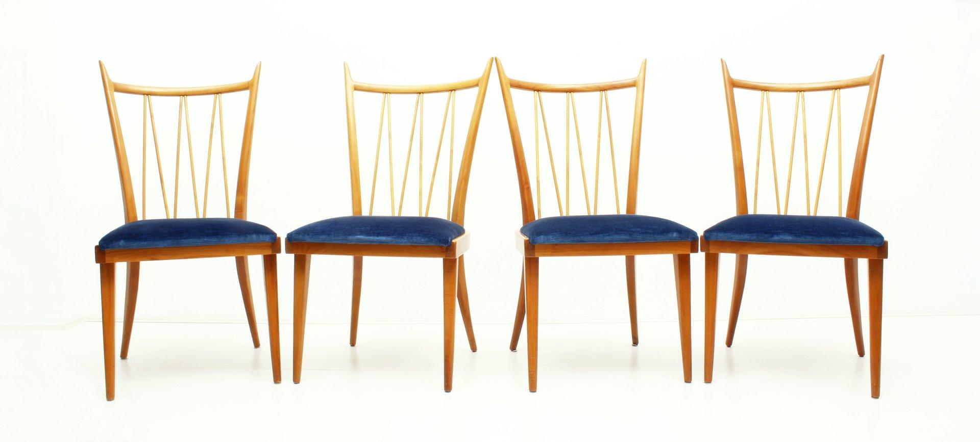 esszimmerst hle aus kirsche samt 1950er 4er set bei pamono kaufen. Black Bedroom Furniture Sets. Home Design Ideas