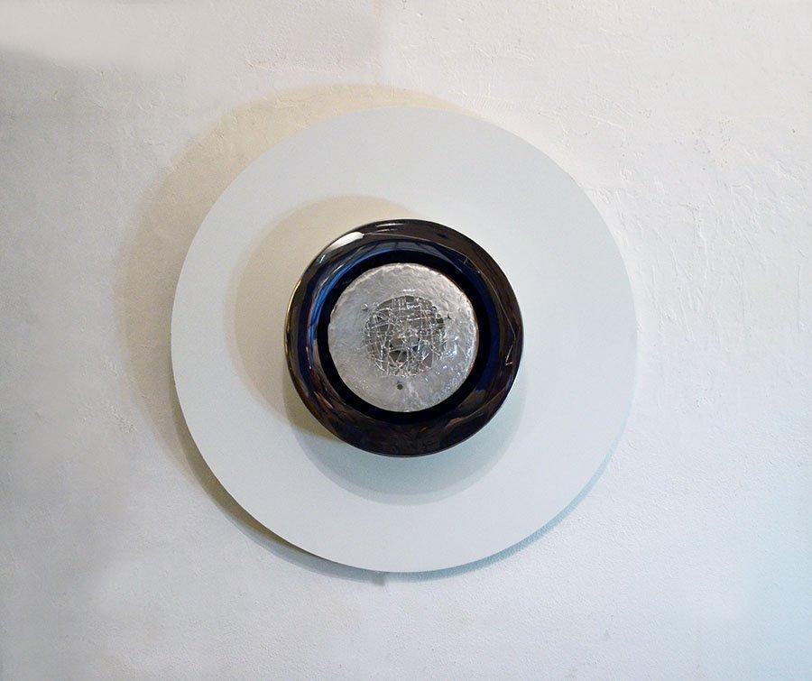 Wandlampe aus Lackiertem Holz & Glas von Angelo Brotto für Esperia, 19...