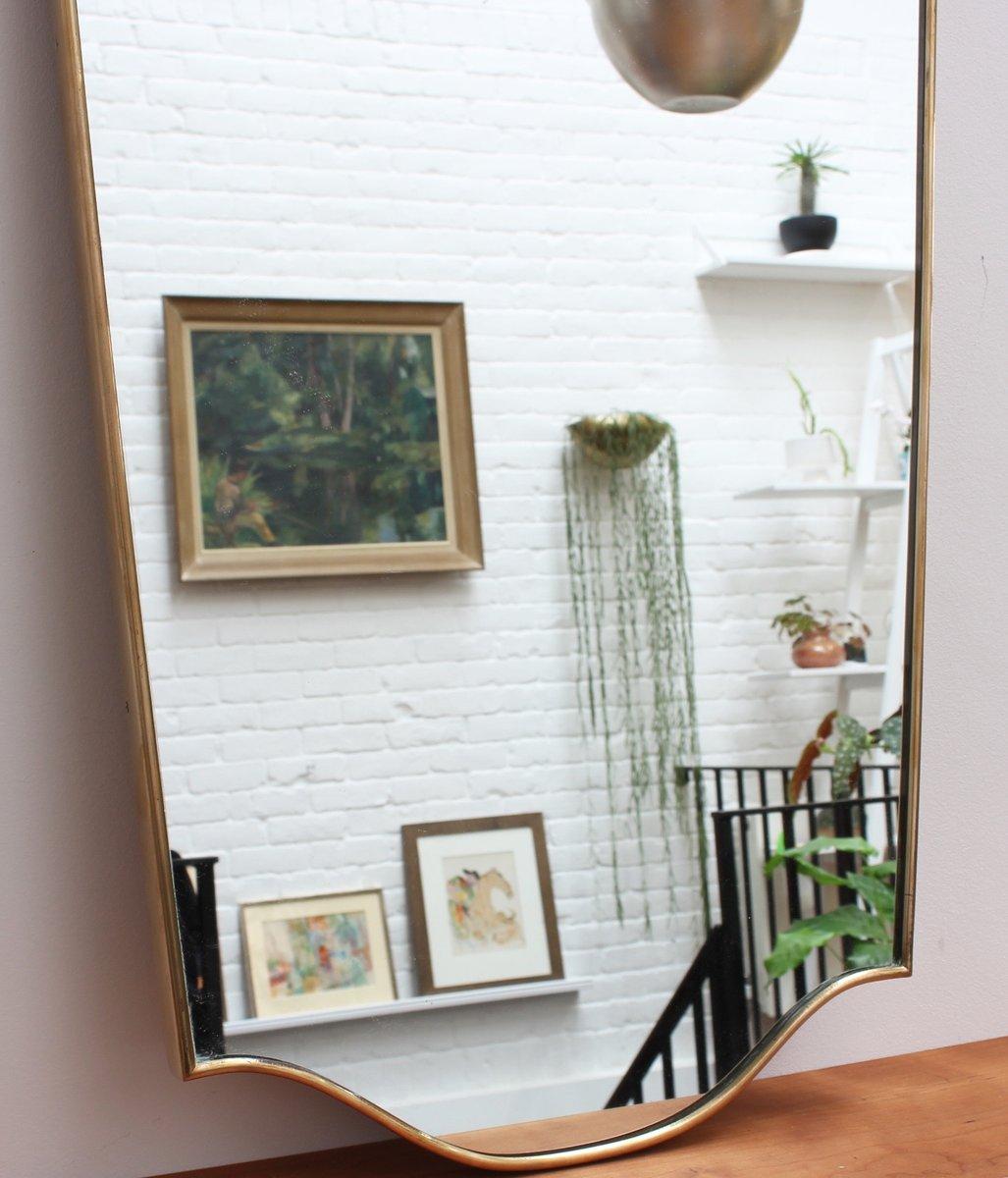 italienischer mid century wandspiegel mit messing rahmen bei pamono kaufen. Black Bedroom Furniture Sets. Home Design Ideas