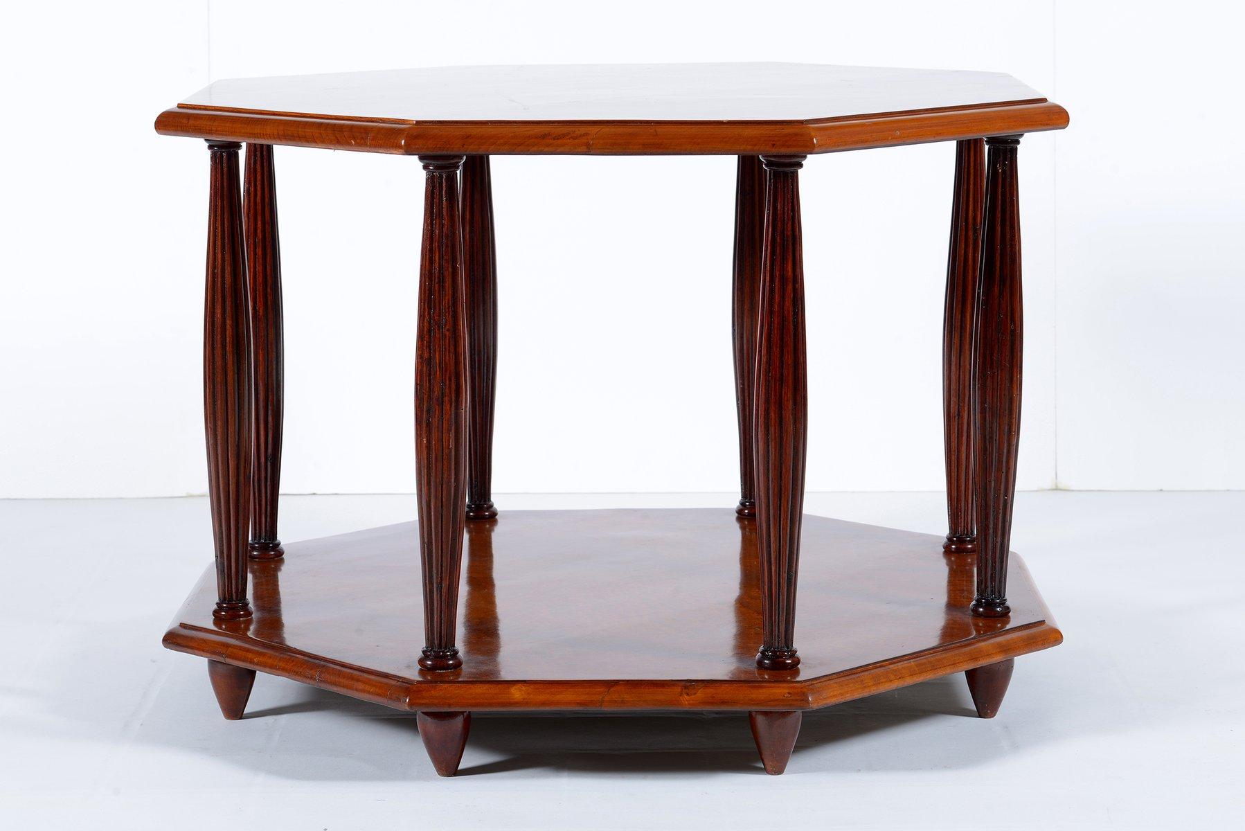 Art Deco Italian Octagonal Bird Eyes Maple Sofa Coffee Table Or Side