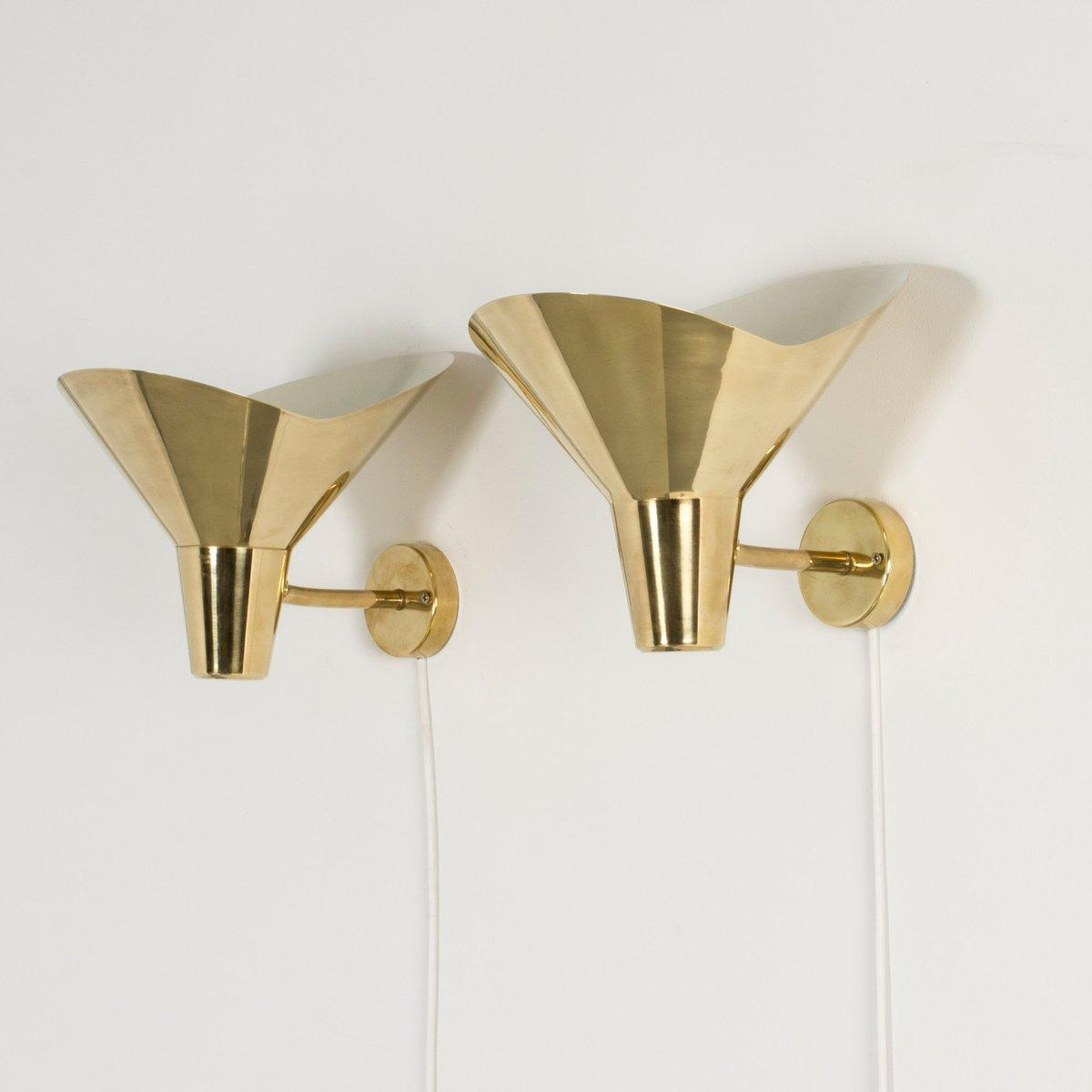 Messing Wandlampen von Hans Bergström für Ateljé Lyktan, 1950er, 2er S...