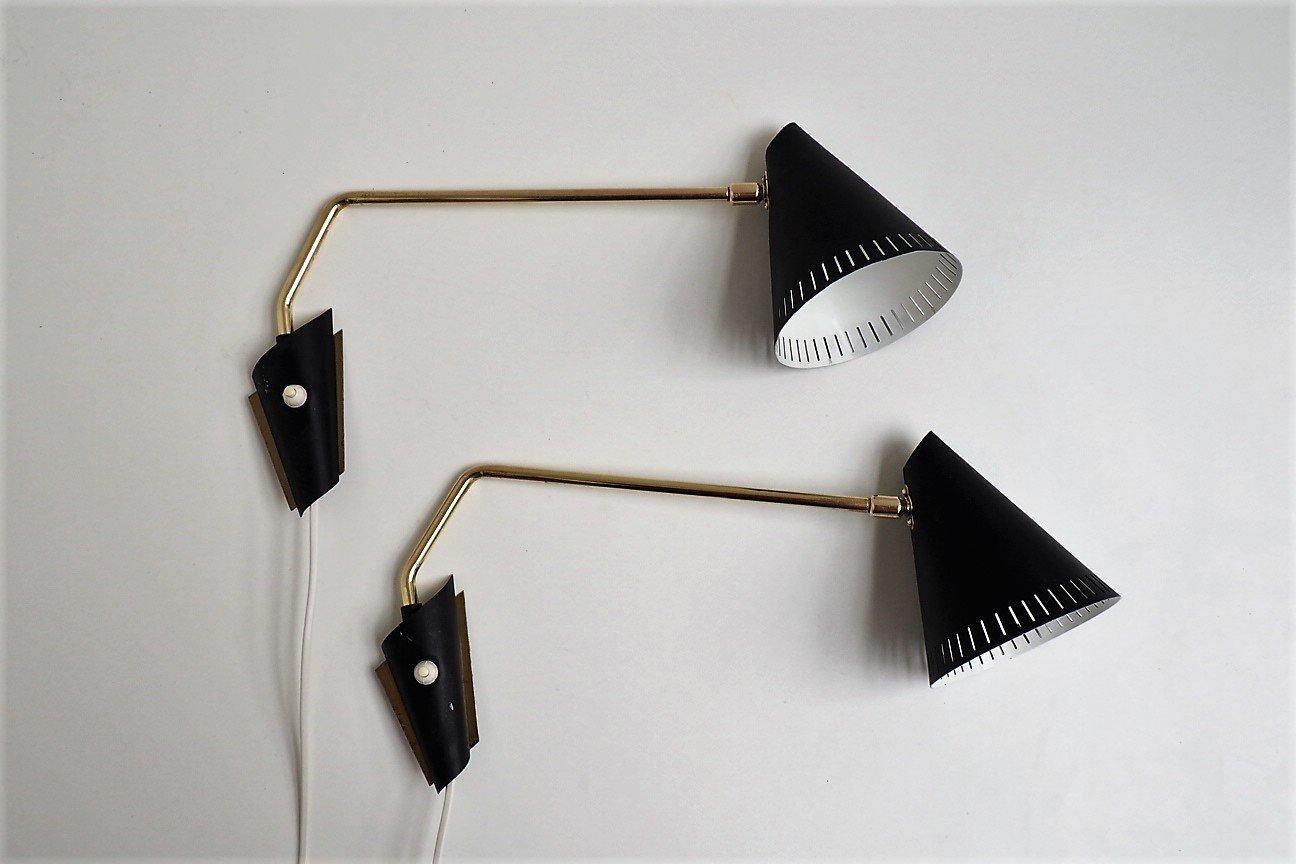 Messing Wandlampen von Lyfa, 1950er, 2er Set