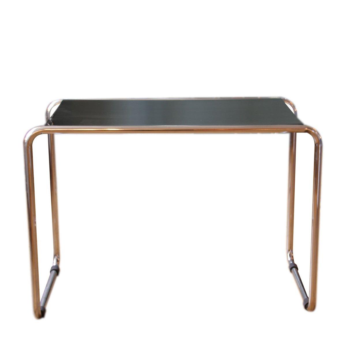 German Bauhaus Chromed Tubular Steel Laquered Wood Sidetable - Steel and wood side table