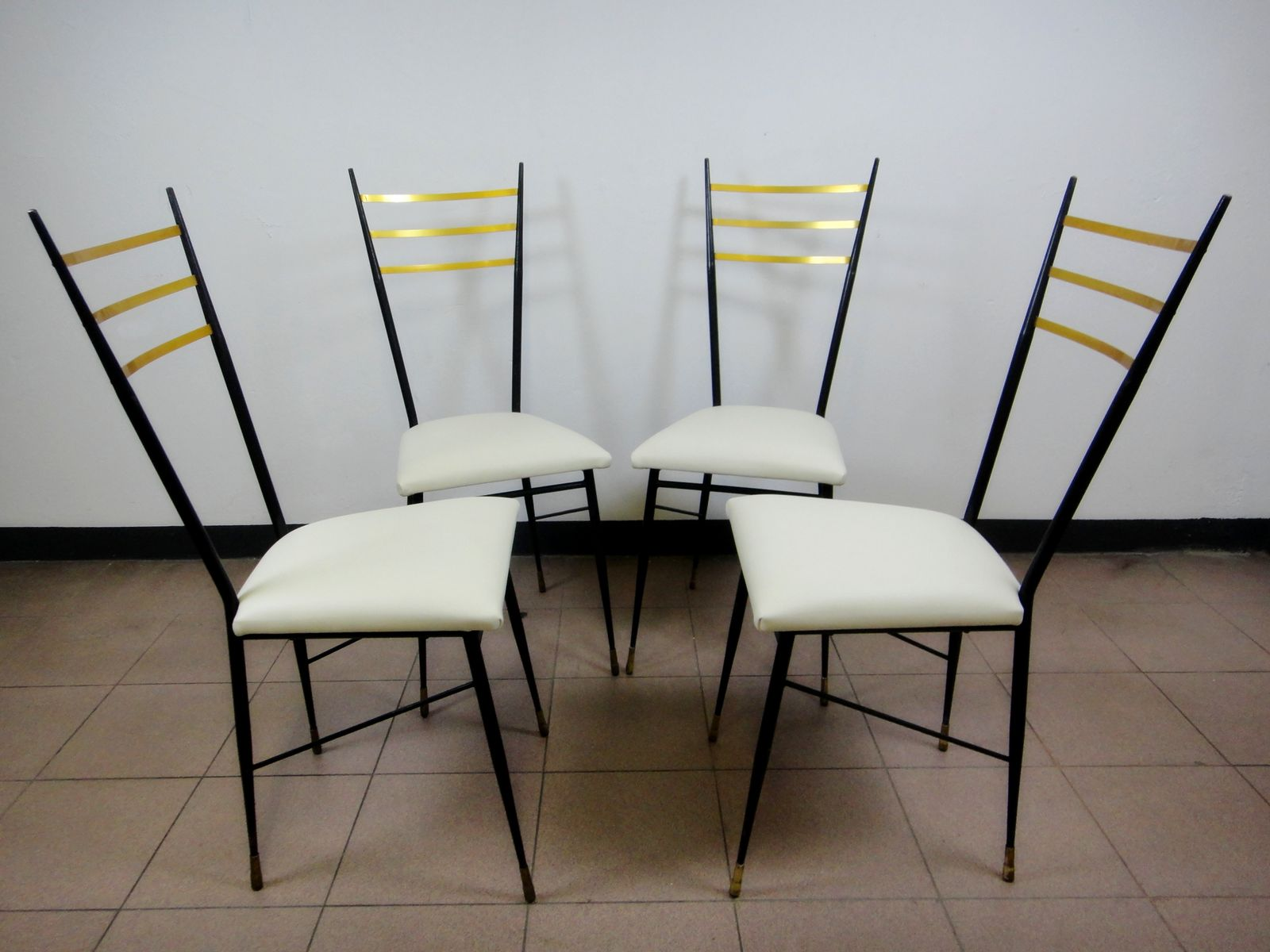 mid century black lacquered metal brass and white pleather dining chairs 1950s set of 4 for. Black Bedroom Furniture Sets. Home Design Ideas