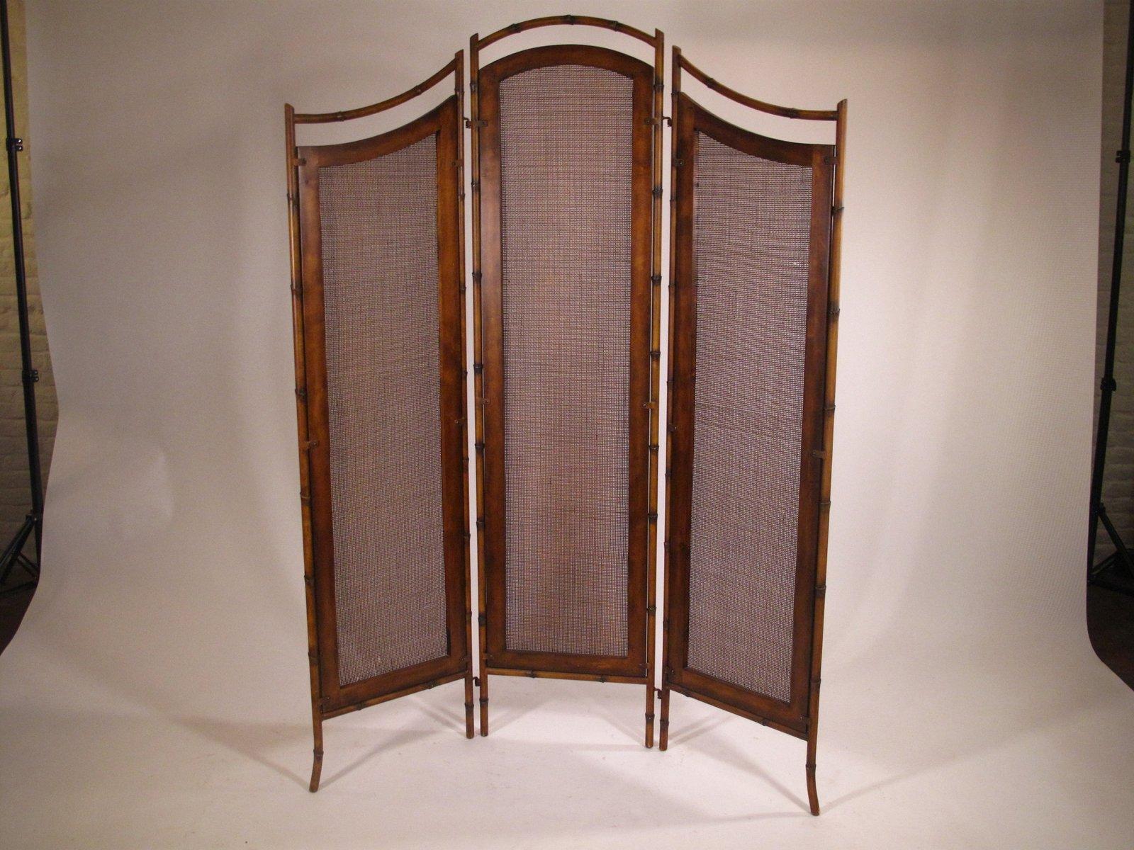 paravent en m tal et osier france 1950s en vente sur pamono. Black Bedroom Furniture Sets. Home Design Ideas