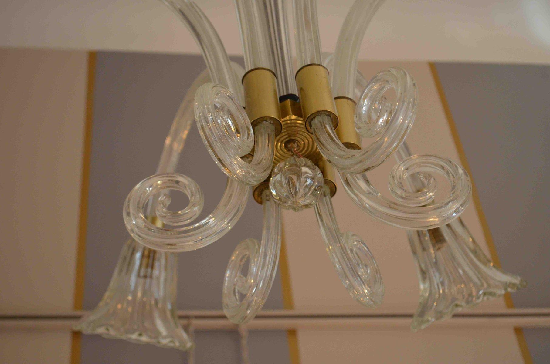 Lampadario vintage in vetro di murano e ottone di ercole barovier