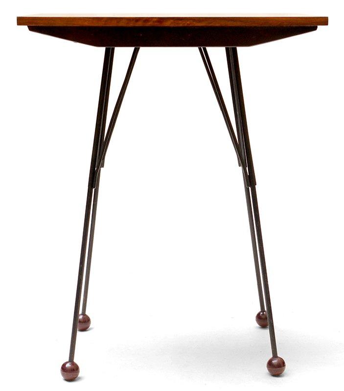 Czechoslovakian Walnut Veneered TV Table With Swivel Top, 1950s