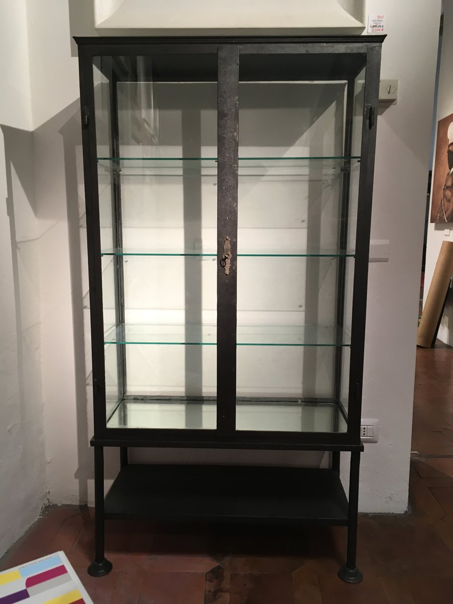 Antique Iron & Glass Display Cabinet - Antique Iron & Glass Display Cabinet For Sale At Pamono