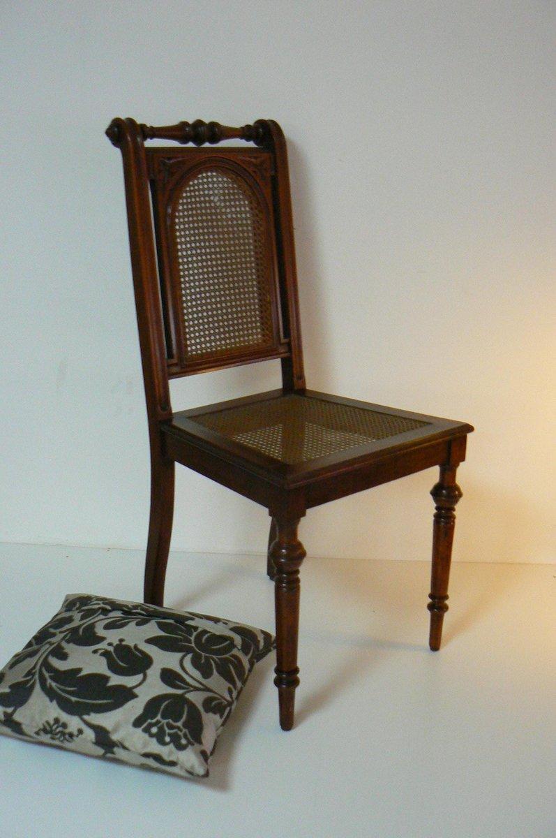 chaise antique art nouveau en vannerie avec coussin en vente sur pamono. Black Bedroom Furniture Sets. Home Design Ideas