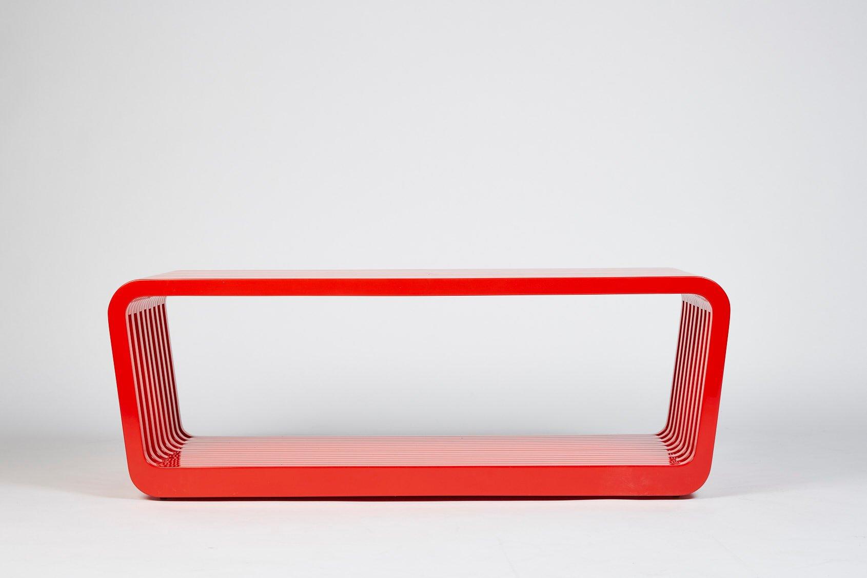 Große Link Bank oder Couchtisch in Iconic Rot von Reda Amalou