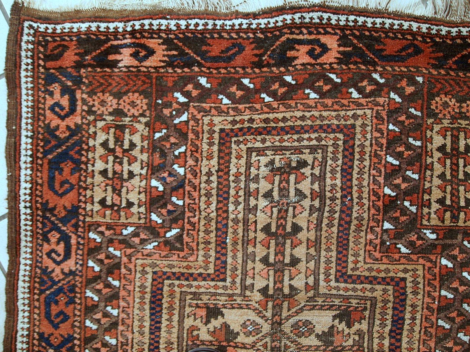 Antique Handmade Afghan Baluch Prayer Rug 1900s