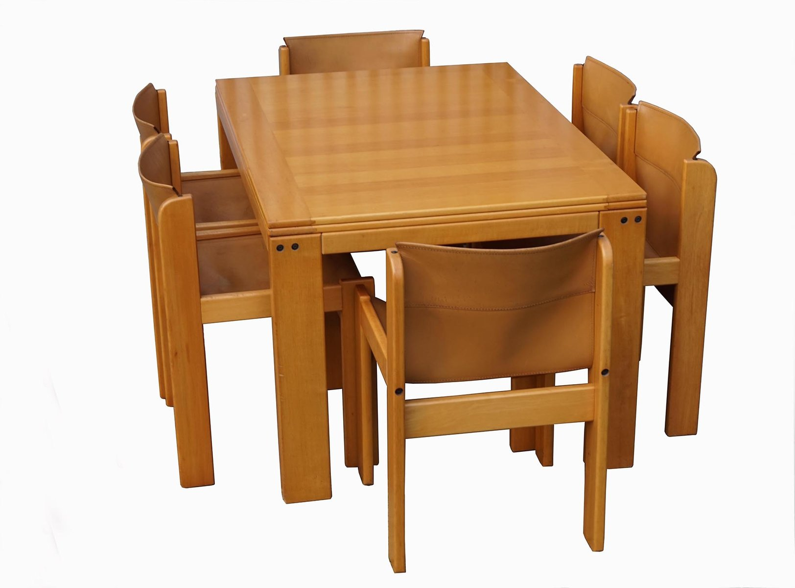 Ibisco Dining Set With 6 Leather Chairs And Extendable Table 1970s