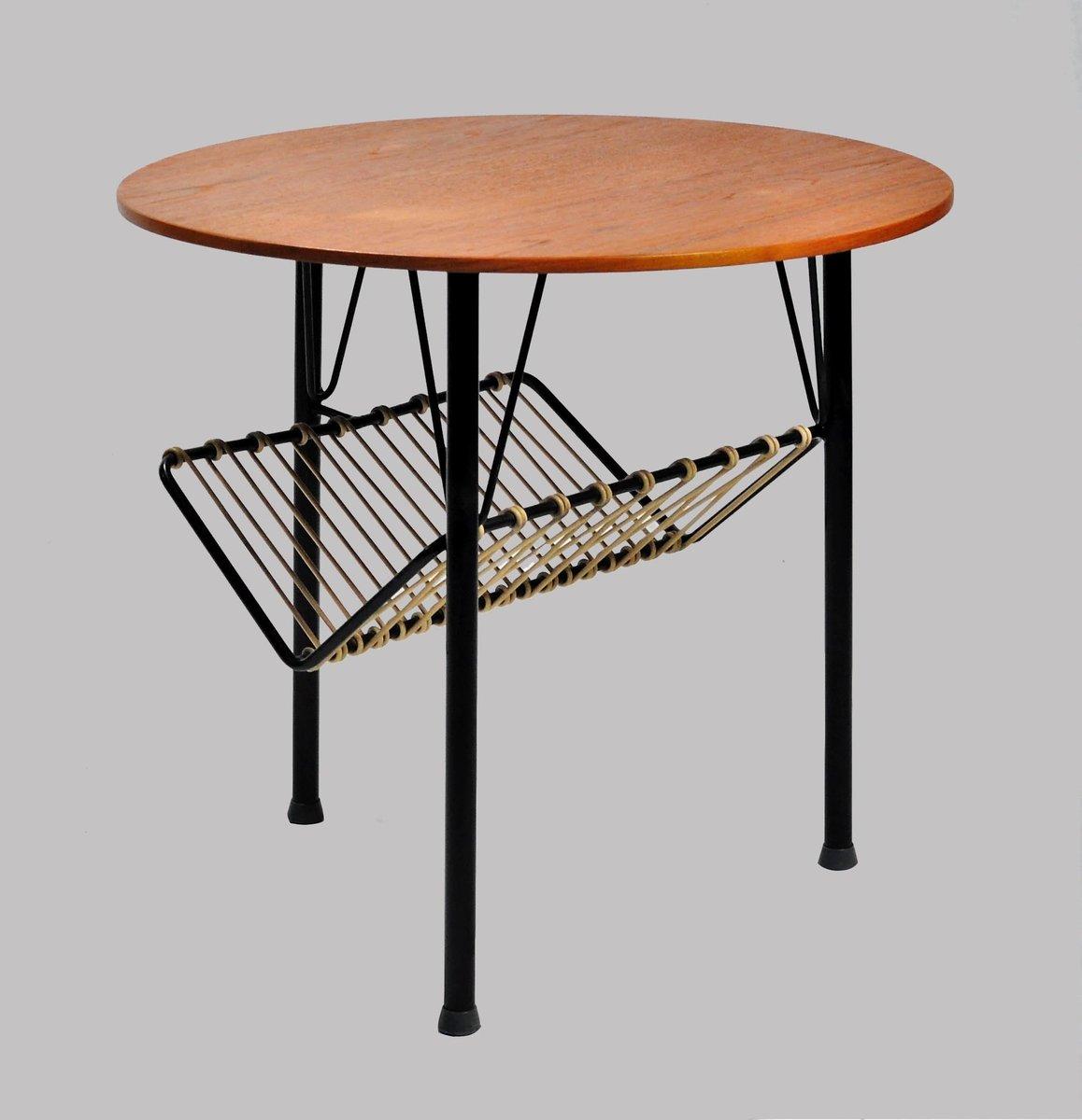 d nischer beistelltisch aus teak schwarzem metall 1950er bei pamono kaufen. Black Bedroom Furniture Sets. Home Design Ideas