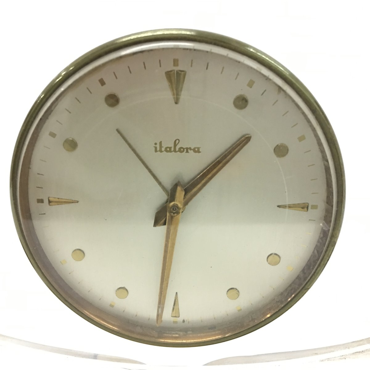 mid century modern plexiglass table clock from italora for sale at pamono. Black Bedroom Furniture Sets. Home Design Ideas