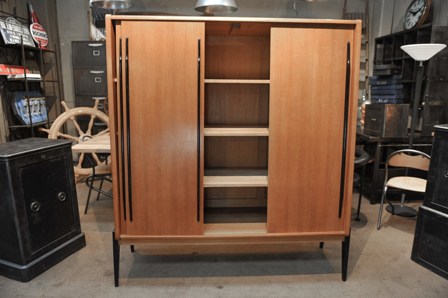 Oak Veneer Wardrobe With Sliding Doors 1950s For Sale At Pamono