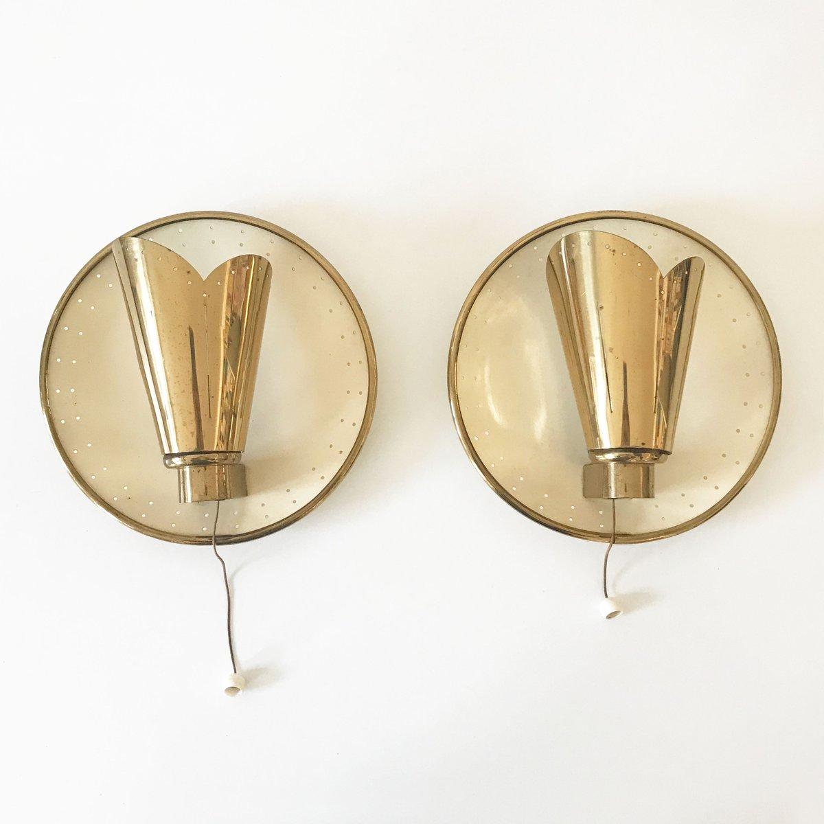Mid-Century Modern Wandlampen von Jacques Biny, 2er Set