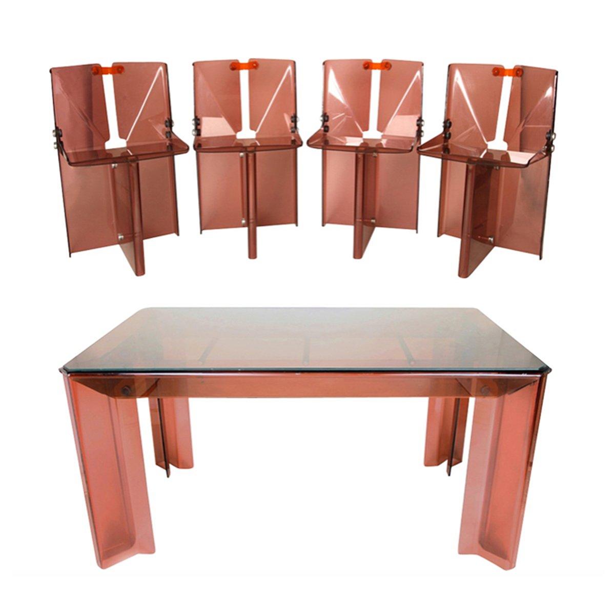 Tavolo da pranzo vintage in perspex con sedie in vendita for Tavolo da pranzo con sedie