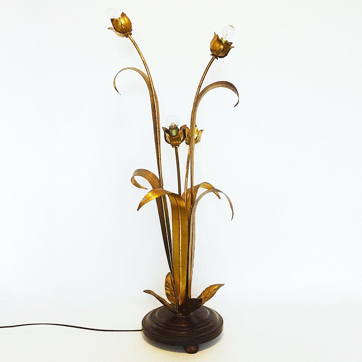Vergoldete Florale Stehlampe, 1960er