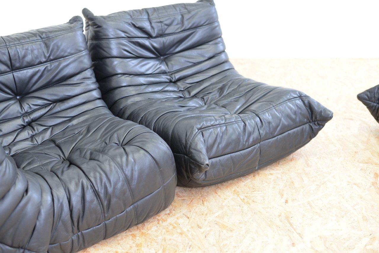 togo leder sofa set von michel ducaroy f r ligne roset 1973 bei pamono kaufen. Black Bedroom Furniture Sets. Home Design Ideas