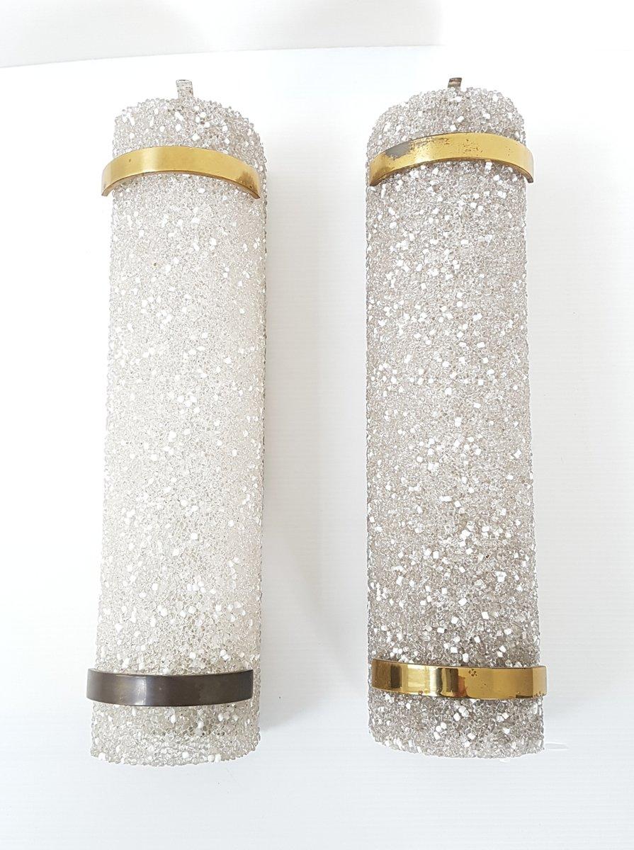 Französische Resina & Messing Wandlampen, 1950er, 2er Set