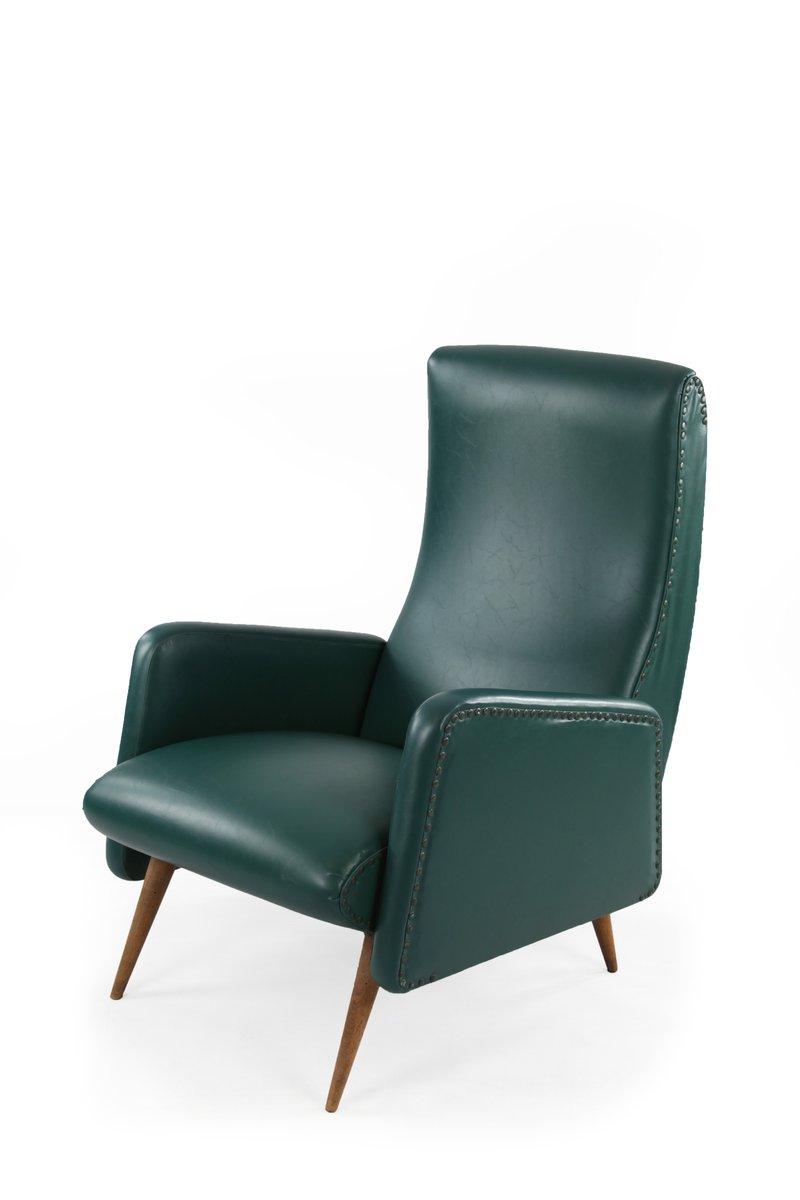 Dunkelgrüner Kunstleder Sessel, 1950er