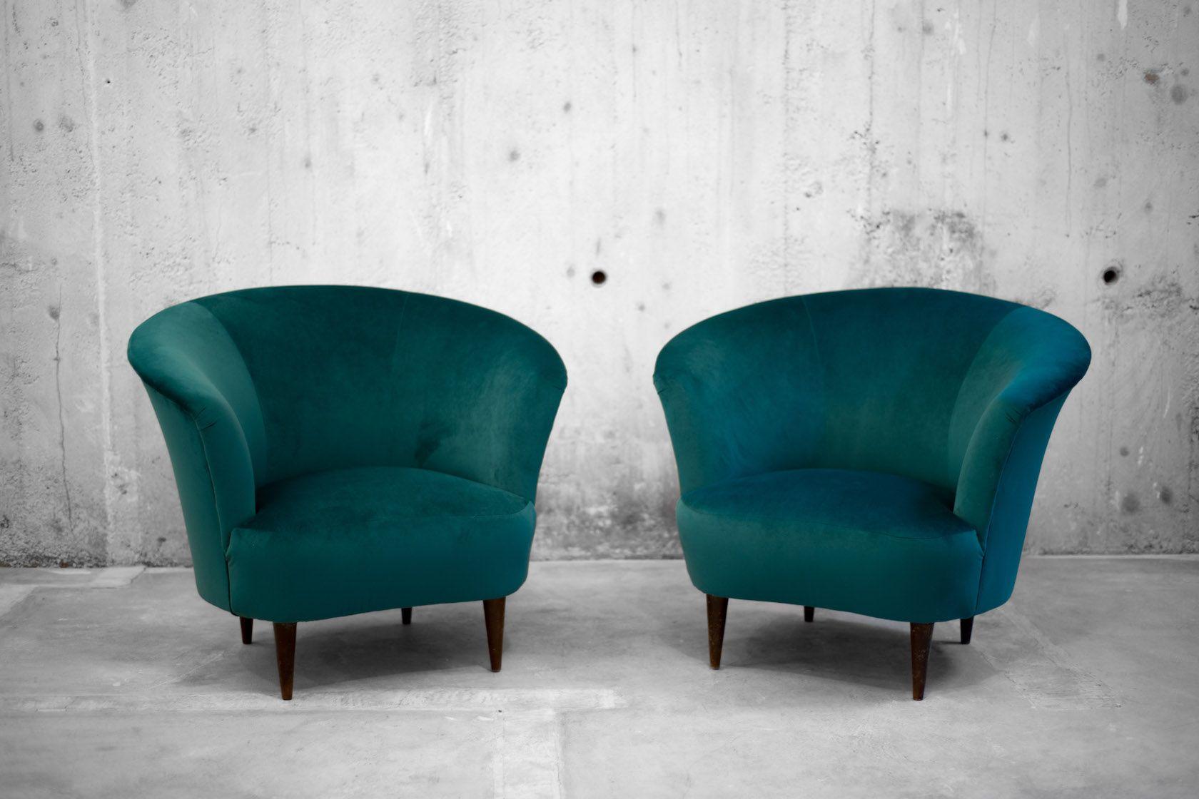 Italienische Sessel aus Samt, 1940er, 2er Set