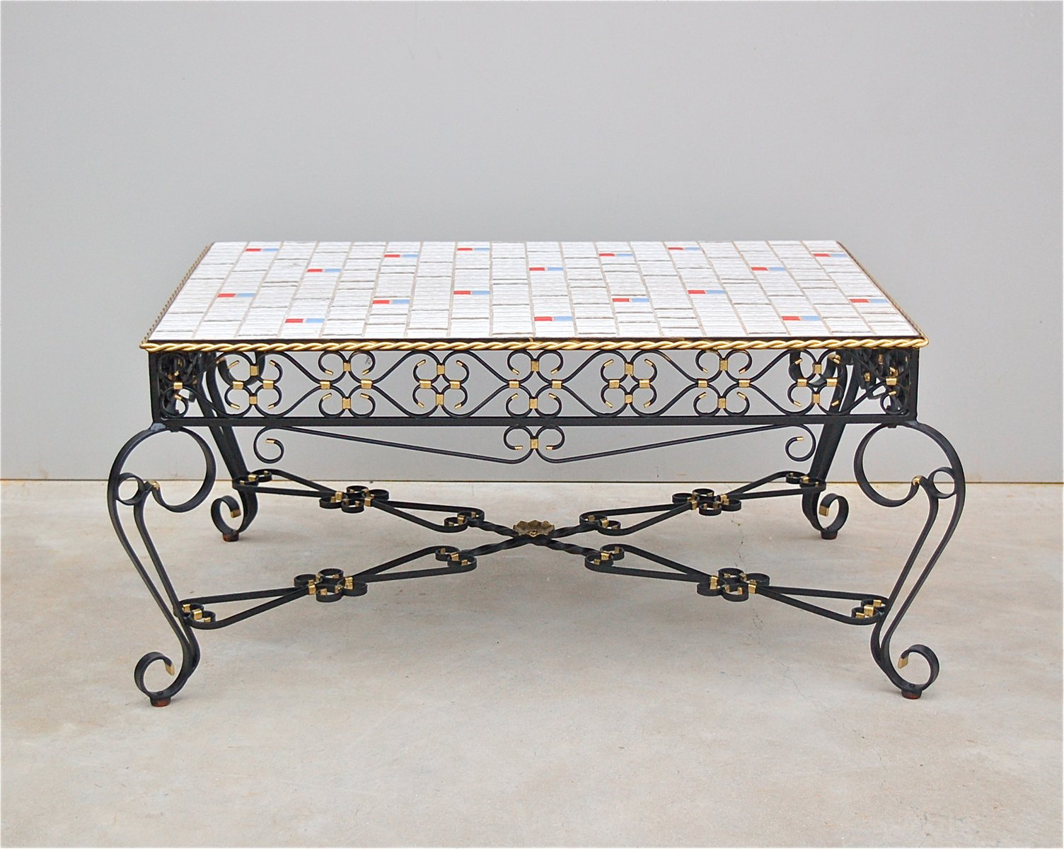 Wrought Metal Ceramic Tile Coffee Table 1971 For Sale At Pamono