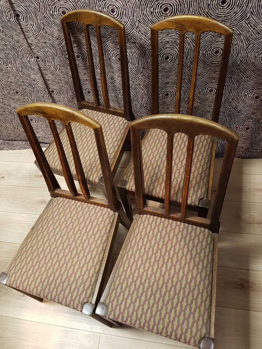 Price per set - Antique Oak Chairs By Bruno Paul For Münchner Werkstätten, Set Of 4