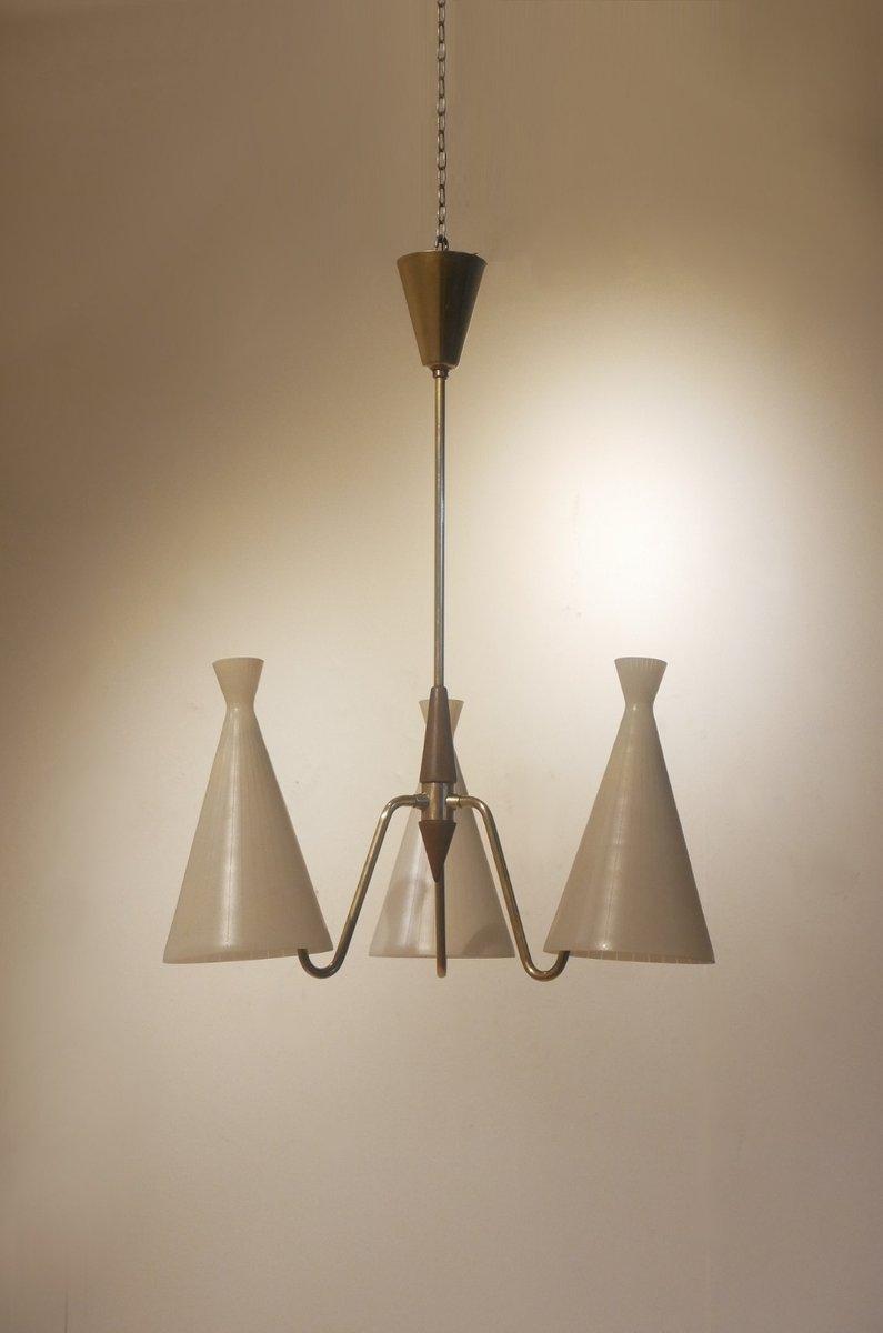 Hängelampe aus Teak mit 3 Leuchten von Fog & Morup, 1950er