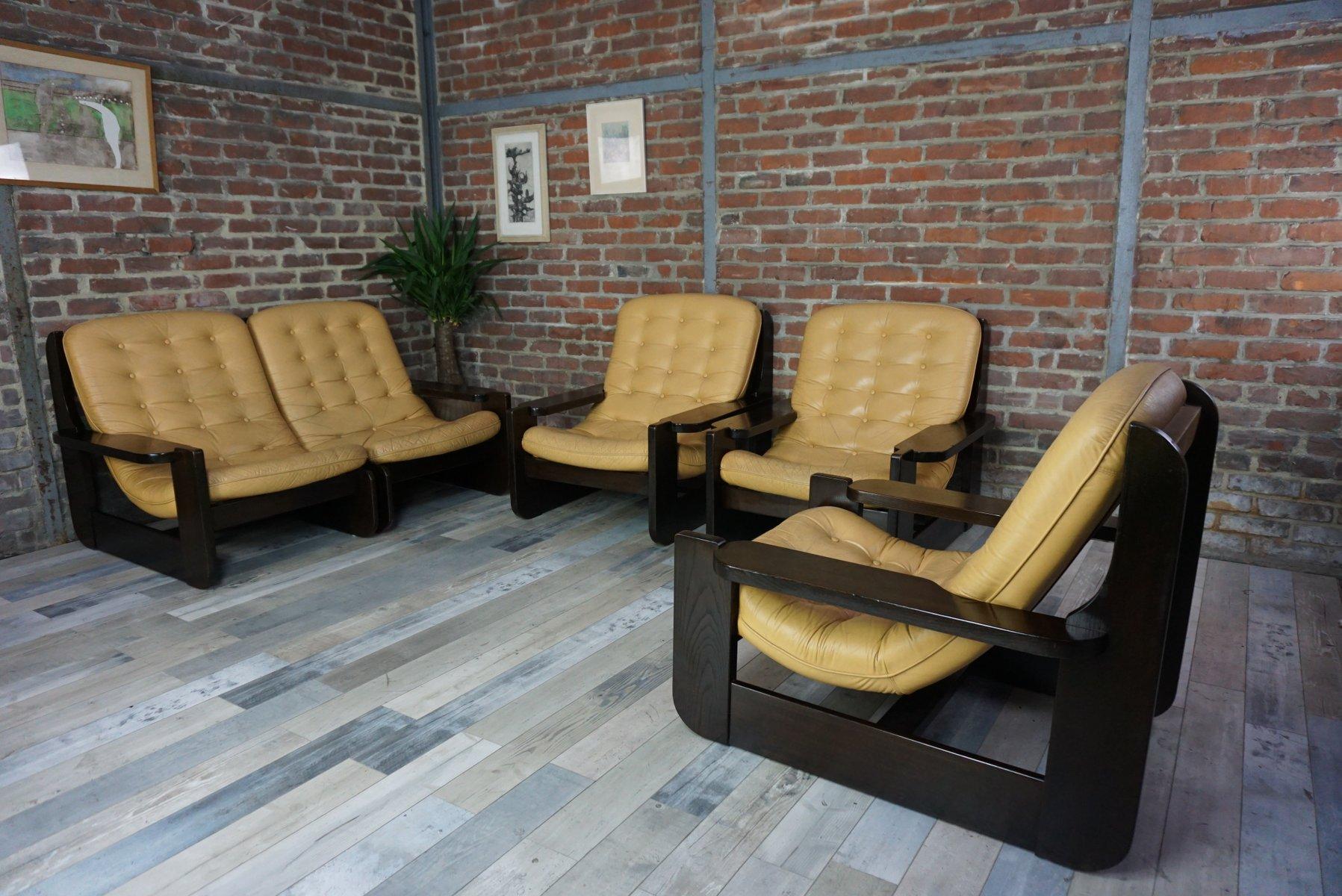 Vintage Wohnzimmer Set Aus Massivem Holz U0026 Leder