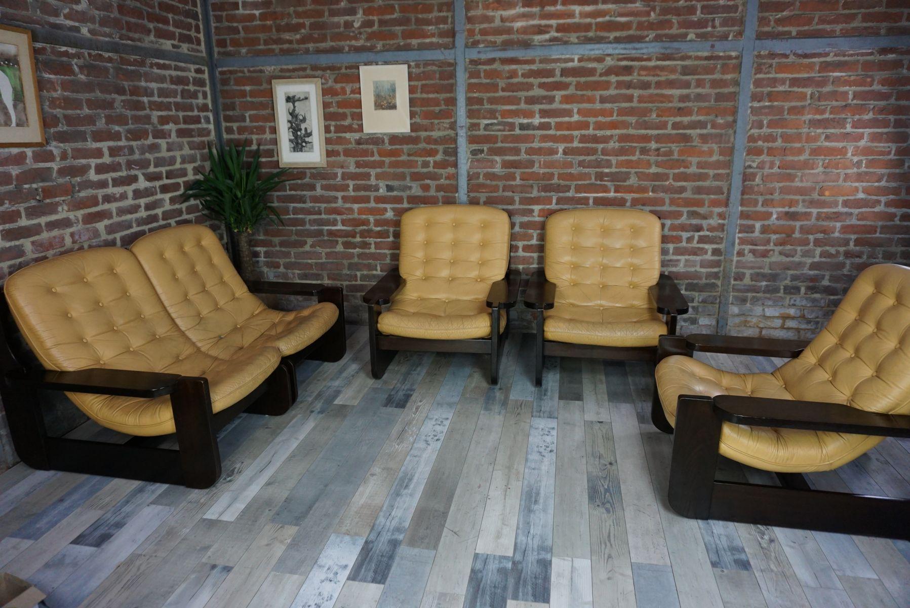 Mobilier de Salon Vintage en Bois Massif et Cuir en vente sur Pamono