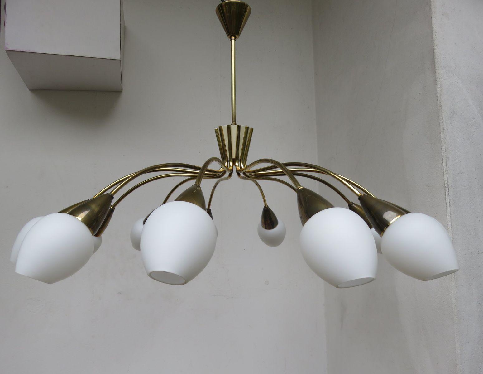 Italienische 12-Armige Messing Deckenlampe, 1950er