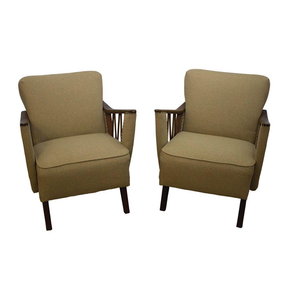 deutsche olivgr ne mid century sessel 1950er 2er set bei pamono kaufen. Black Bedroom Furniture Sets. Home Design Ideas