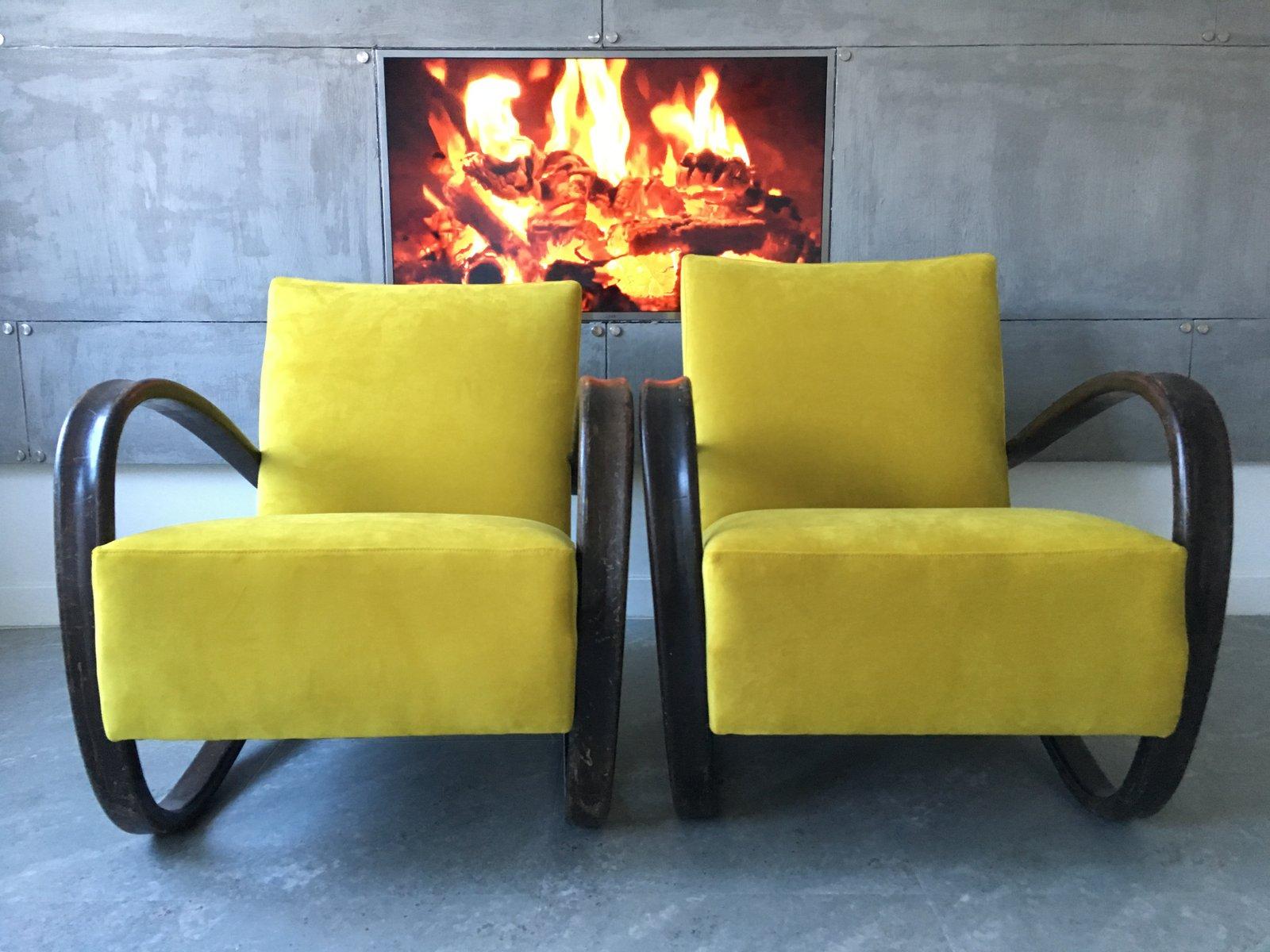 Gelbe Vintage H269 Samt & Bugholz Sessel von Jind?ich Halabala, 2er Se...