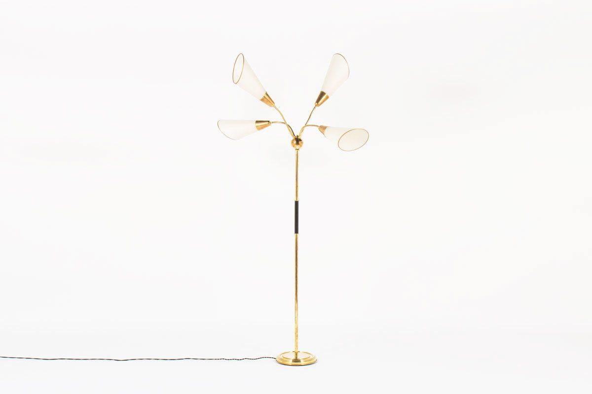 Vierarmige Messing Stehlampe, 1950er
