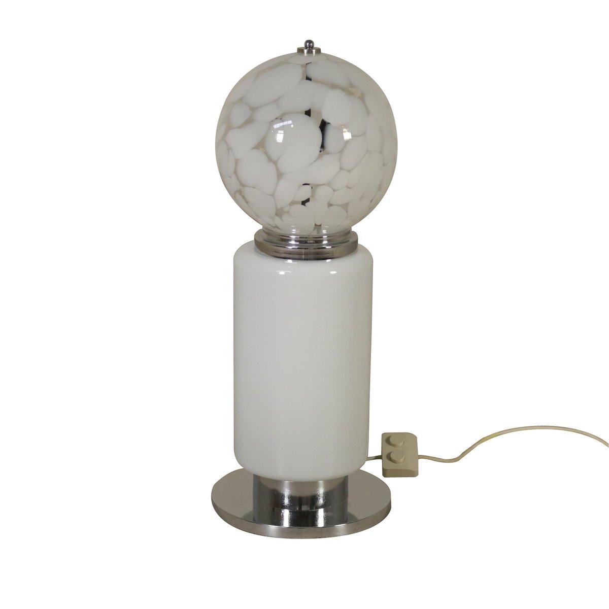 Mid-Century Metall und Glas Tischlampe