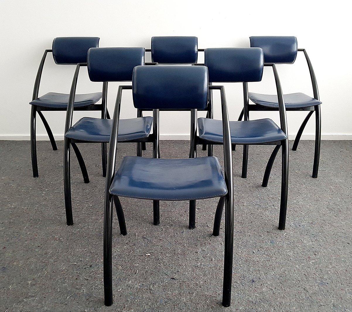 Chaises de Salon Modernes en Cuir par Fasem, Italie, 1995, Set de 6 ...