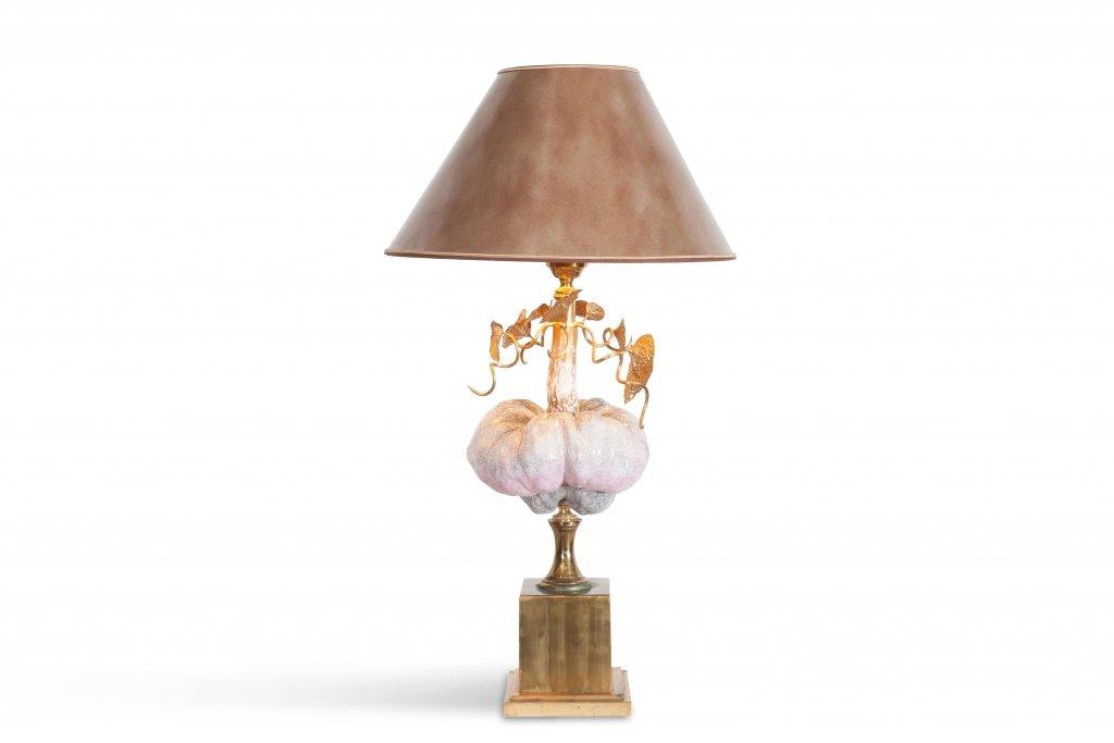 Vintage Hollywood Regency Porzellan & Messing Lampe