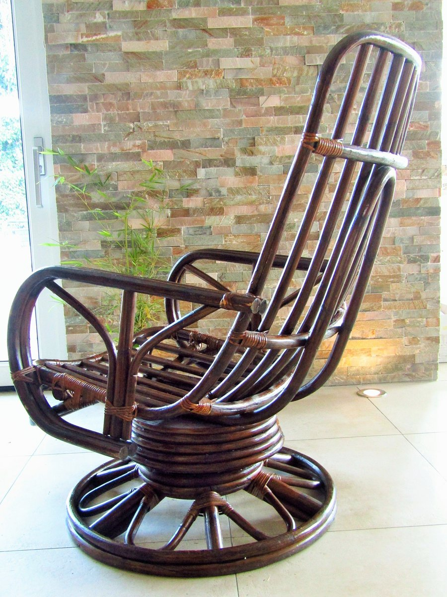 Mid Century Rattan Rocking Chair For Sale At Pamono