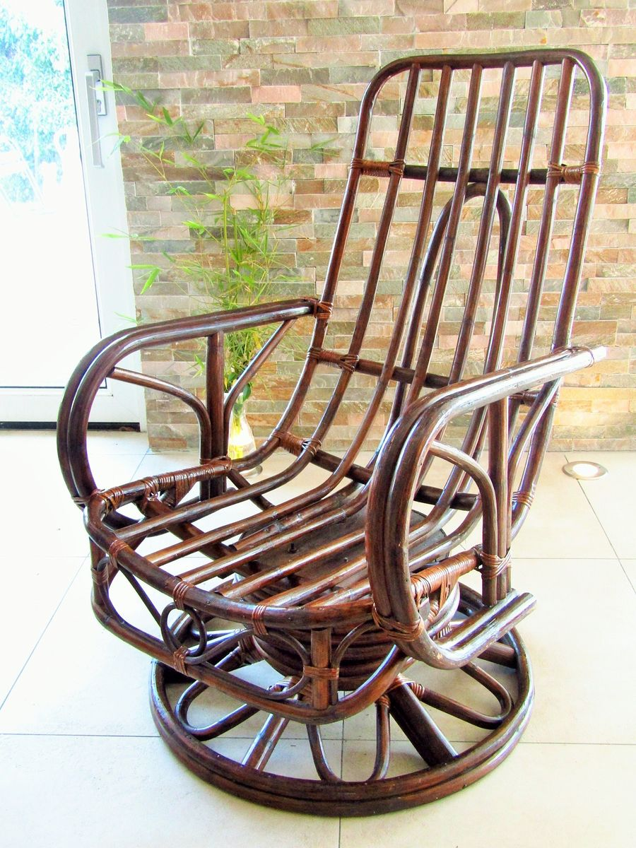 mid century rattan rocking chair for sale at pamono. Black Bedroom Furniture Sets. Home Design Ideas