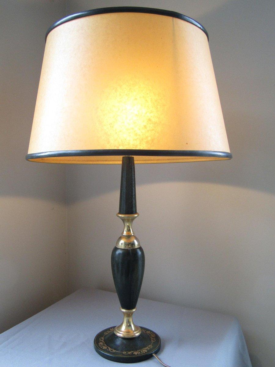 Tischlampe aus Leder von Le Tanneur, 1960er