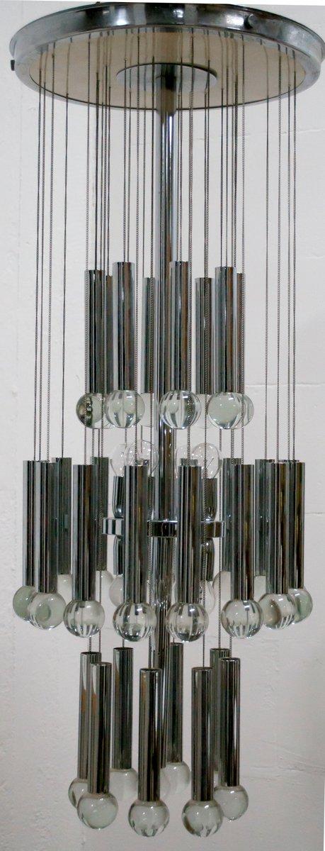 Kronleuchter aus verchromtem Metall und Kristall von Gaetano Sciolari,...