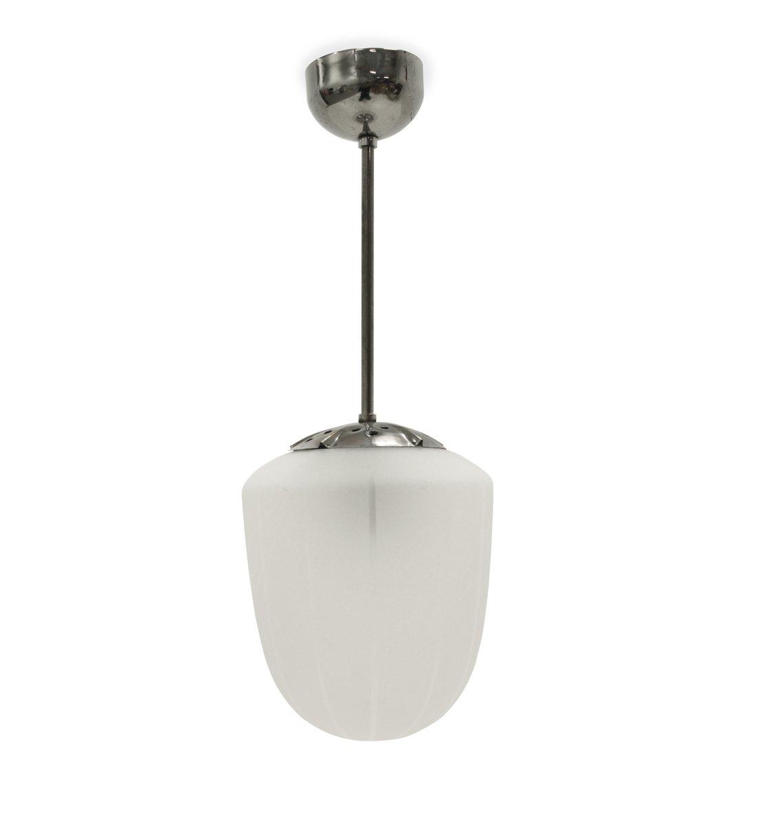 Schwedische Eisglas Deckenlampe, 1950er