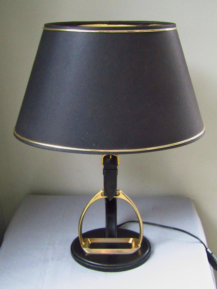 Lampe de bureau en cuir et laiton de longchamp 1950s en vente sur pamono - Lampe de bureau style anglais ...