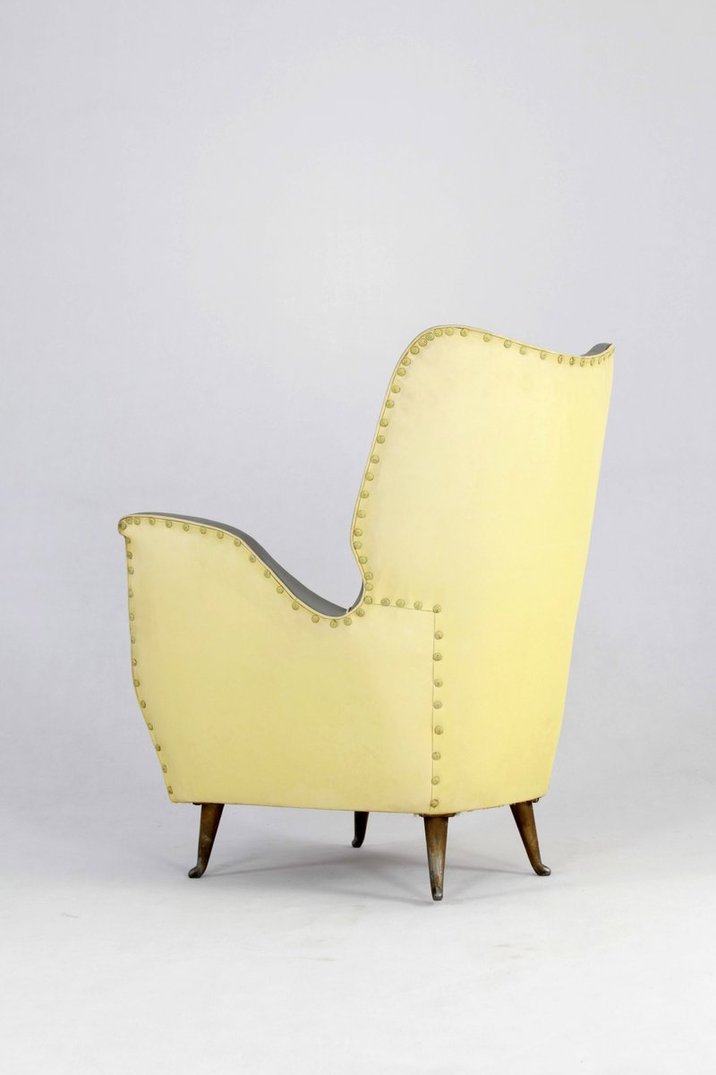 Italian Yellow Grey Skai Armchair From Isa 1950s For Sale At