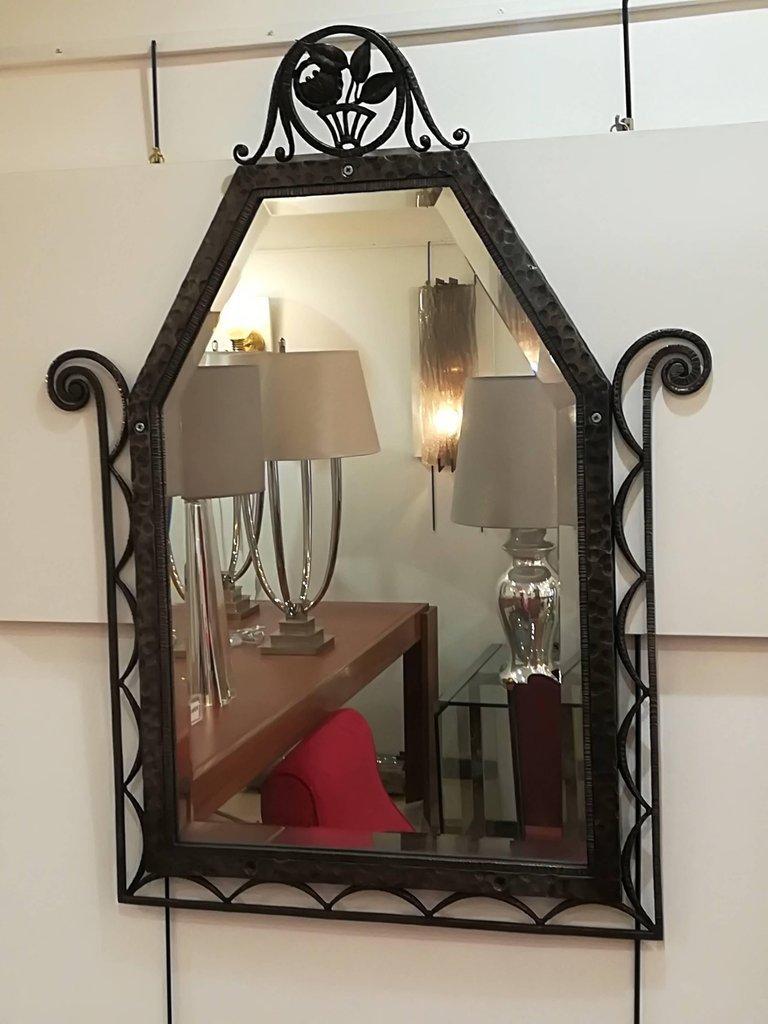 miroir mural art deco en fer forg 1930s en vente sur pamono. Black Bedroom Furniture Sets. Home Design Ideas