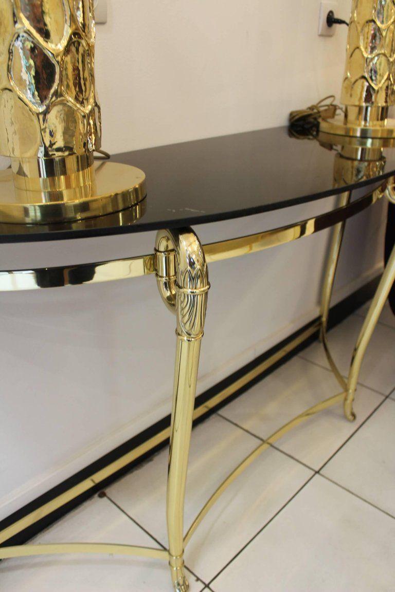 italienischer messing marmor konsolentisch 1970er bei pamono kaufen. Black Bedroom Furniture Sets. Home Design Ideas