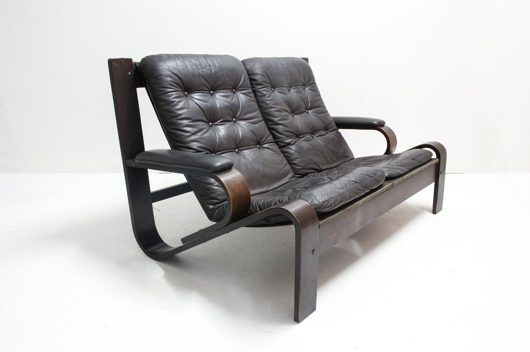Vintage 2 Sitzer Sofa aus Leder & Holz bei Pamono kaufen